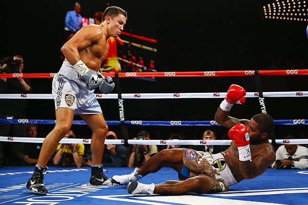 Gennady Golovkin earned yet another KO victory Saturday night. His opponent Curtis Stevens rose from this second round knockdown but was stopped in the eighth.