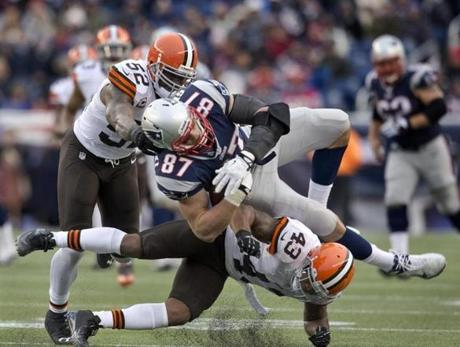 The Hit Heard Round The World. New England's biggest receiving threat Rob Gronkowski suffered a season-ending knee injury during the team's third straight comeback victory.
