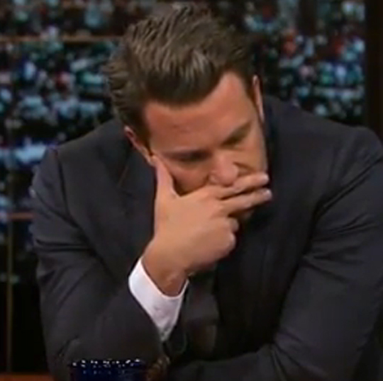 No, he wasn't smoking an imaginary cigarette. Since marrying Jennifer Garner, Affleck has been known to calm his nerves by sniffing his fingers.