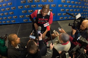 This is what has Durant's pantied in a bunch: leisurely lounging in a chair and answering questions. What torture.