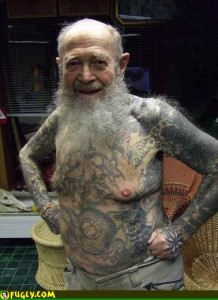 In thirty years, this is what the average grandfather will look like. Then again, if you had a body like this you'd want to show it off too.