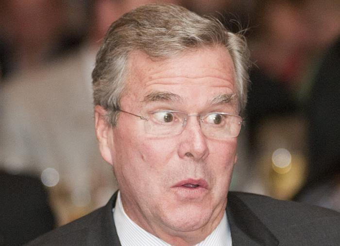 This was Jeb's reaction when in a desperate last-ditch attempt to win supporters, Barbara Bush turned his rally into a Vomitorium by flashing the crowd.