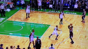 Pierce hits a three in his final shot in Boston. The only thing wrong with this picture is the uniform.