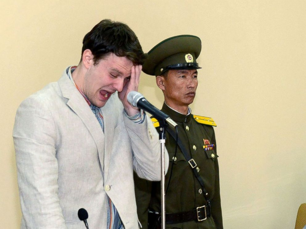 In a display of the carefree, rapscallion spirit Warmier has become so famous for, he broke down and wept like a baby inside a North Korean courtroom. You can tell by the expression on the pan face soldier beside him that the American's heartfelt pleas were really moving.